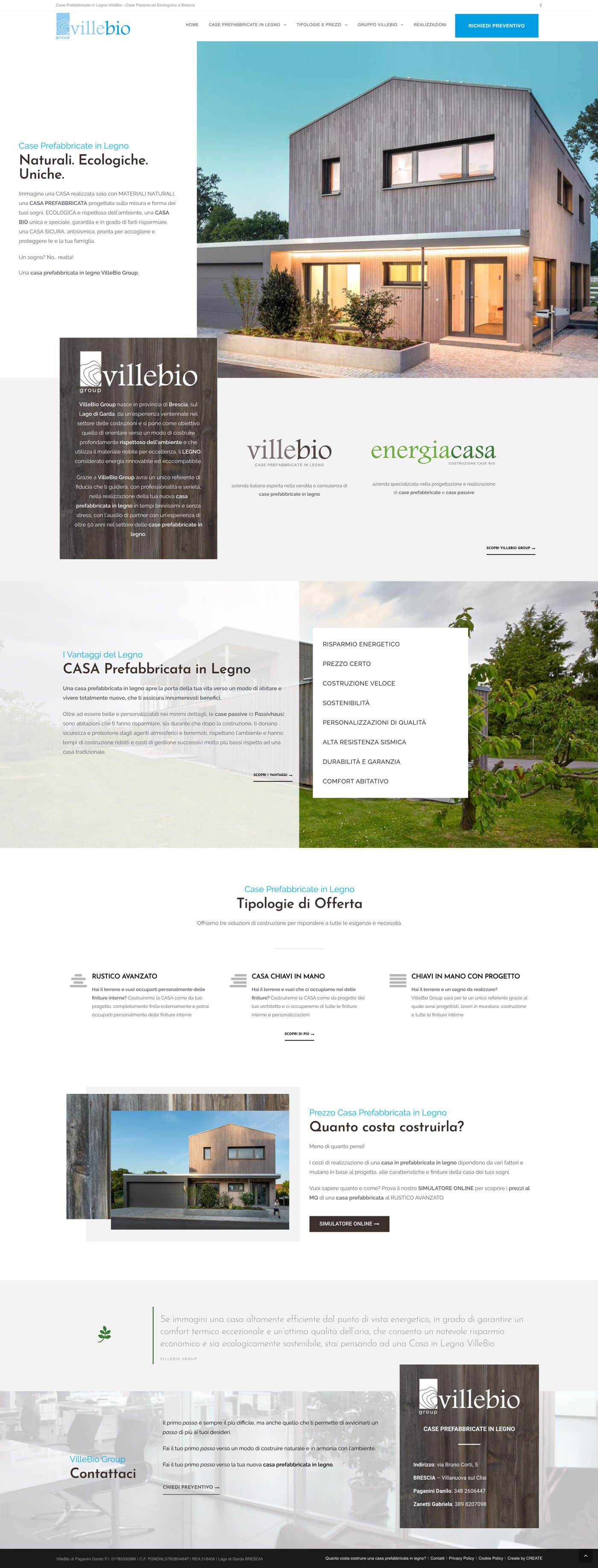 Realizzazione sito web per case prefabbricate in legno ecologiche e passive